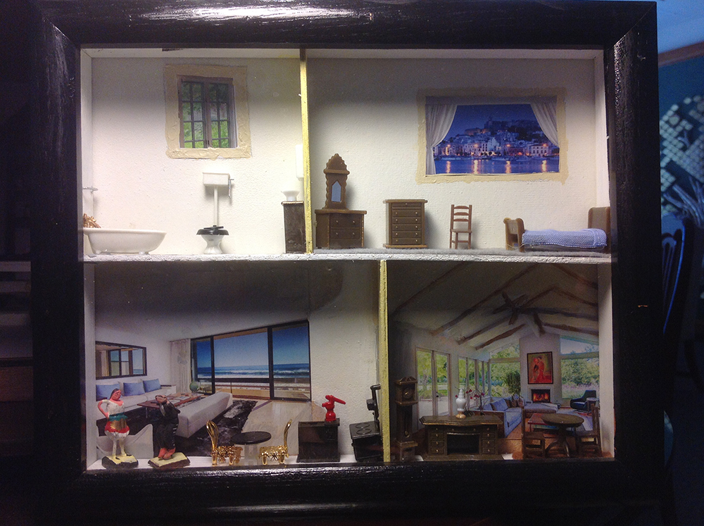 Photo of a shadowbox, depicting various places in a house (clockwise from top left: bathroom, top right: bedroom with various furniture, bottom right: large living room with various furniture, bottom left: luxury bedroom with an ocean view